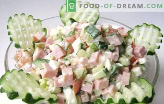 Salad with ham and cucumbers: recipes - varied, quick and tasty. New ideas light salads with ham and cucumbers