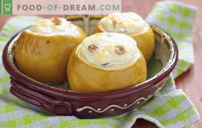 Manzanas con queso cottage en el horno - ¡delicioso! Recetas de manzanas al horno con requesón, pasas, miel, nueces y canela