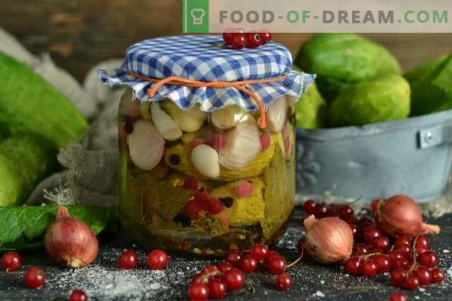 Pickled cucumbers with red currants and onions
