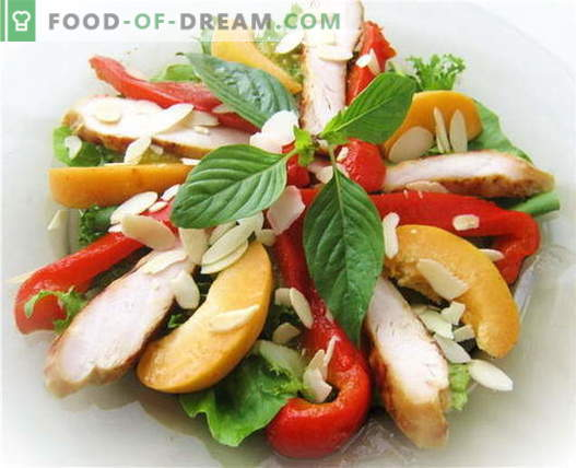 Bulgarian pepper salad with chicken - the best recipes. How to properly and tasty to prepare a salad with peppers and chicken.
