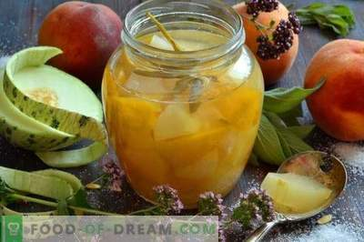 Komplekts no melones ar persikiem un salviju ziemai