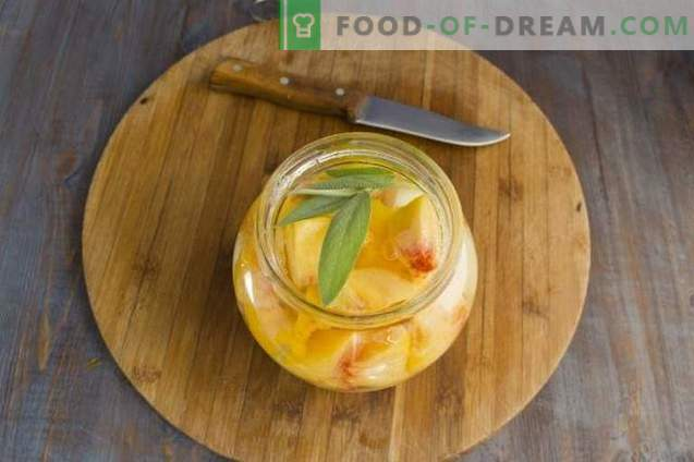 Compote from melon with peaches and sage for the winter