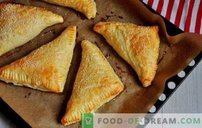 Puffs with cottage cheese: sweet, salty, in the oven and in a skillet. Recipes for different pastry puff pastry with cottage cheese