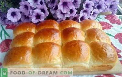 Yeast dough - air buns. Air buns with raisins, cherries, vanilla, cinnamon, boiled condensed milk or garlic
