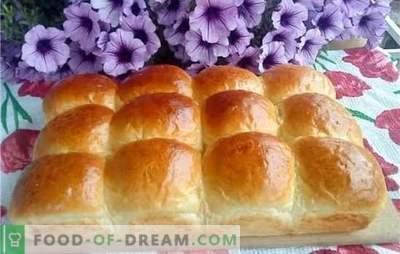 Yeast dough - air buns. Air buns with raisins, cherries, vanilla, cinnamon, boiled condensed milk or garlic