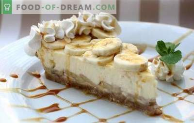 Banana Cheesecake - Royal Dessert! Recipes of real banana cheesecake from cheese and cottage cheese: with baking and without baking