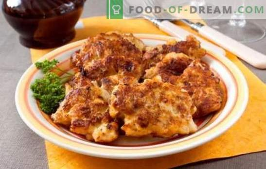 Chopped chicken cutlets with mayonnaise in breading and without. Recipes of fried and stewed chicken minced cutlets with mayonnaise