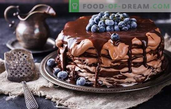 Chocolate pancake cake - a treat from the pan! Recipes simple and festive chocolate pancake cakes with different creams