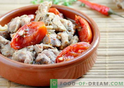 Meat with tomatoes - the best recipes. How to properly and cook meat with tomatoes.