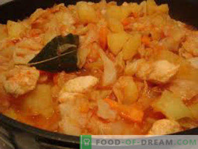 How to stew sauerkraut in a pan, in a slow cooker, with meat, potatoes, chicken and sausage