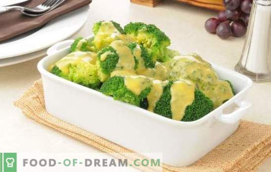 Broccoli in a creamy sauce with nutmeg, cheese, mushrooms. Recipes boiled and baked broccoli in cream sauce