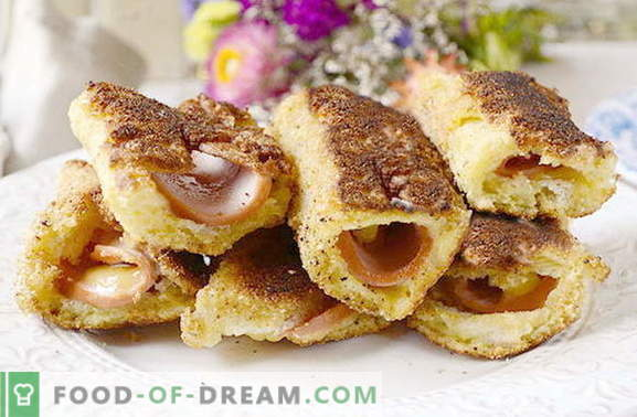 Quick snack rolls of bread with sausage and cheese. This you have not tried!