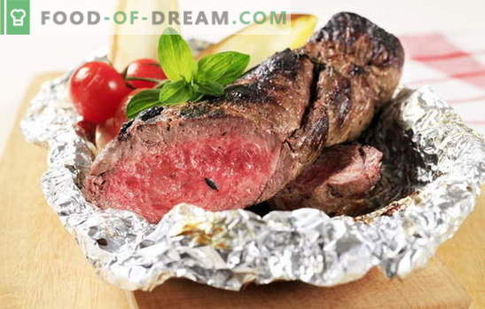 """Beef in the oven in foil - whole, chopped, broken. We bake beef in the oven in foil - tasty, nice and """"with a twist"""""""