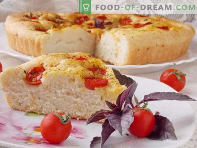 Focaccia with cherry tomatoes and basil