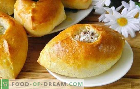 Pies with rice - delicious Russian pastries. Recipes pies with rice, green onions, fish, minced meat and mushrooms