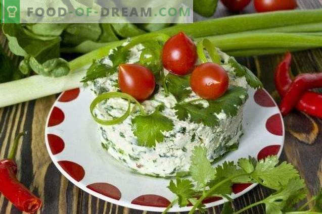 Salad with curd, spinach and cilantro