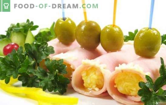 Ham rolls - a spectacular snack in 10 minutes. A selection of the most delicious options rolls of ham with different fillings