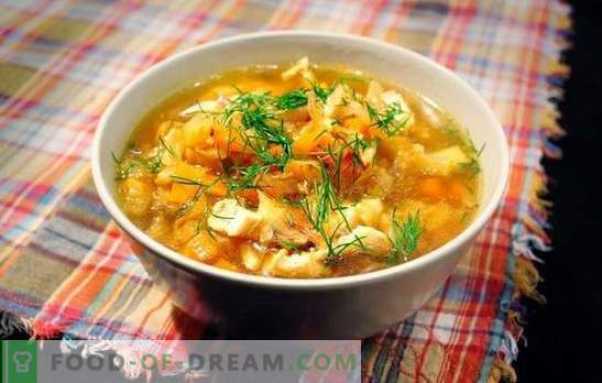 Sauerkraut soup with pork is a Russian dish for all times. Recipes for cabbage soup from sauerkraut with pork, mushrooms, beans, millet