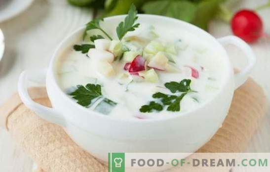 Okroshka on Ayran: healthy and tasty dish. Several recipes okroshka on airana in the culinary piggy bank hostess