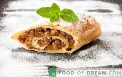 Step-by-step recipes for puff pastry strudel - quick version. Sweet and snack puff strudel