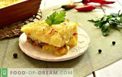 Minced meat casserole in the oven: a step-by-step recipe for a hearty meal. Potato, macaroni, mushroom stuffing casseroles (step by step recipes)