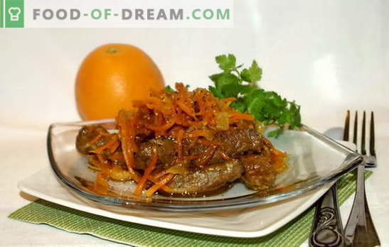 Beef liver with carrots: fried, stewed, in a salad. The best recipes for cooking beef liver with carrots