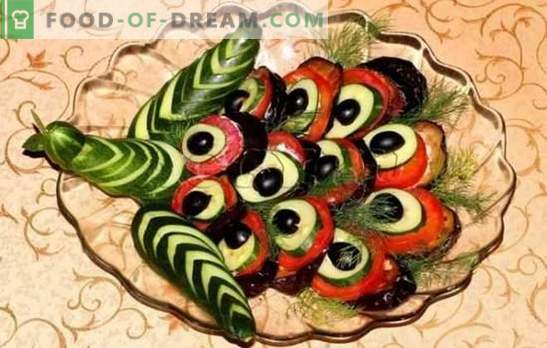 Peacock tail appetizer: a spectacular presentation of a simple dish. Options for snacks