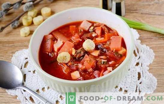 Green borsch with tomato paste and beets: a step by step author's recipe with a photo. How to cook the most delicious soup of sorrel and beets with tomato paste - share the secrets