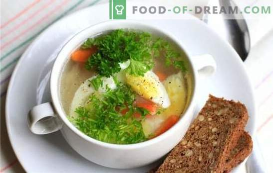 Chicken soup with egg - a dish for mood and health! Different recipes for chicken soups with eggs and vegetables, mushrooms, cereals