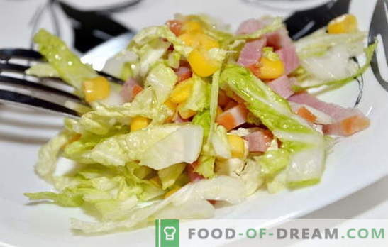 Salad with Peking cabbage and ham is a light snack. Recipes for salads with Peking cabbage and ham: simple and layered