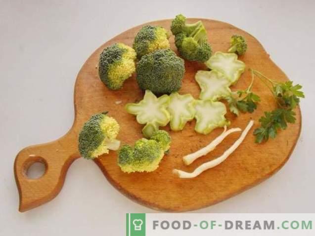 Broccoli soup and meatballs