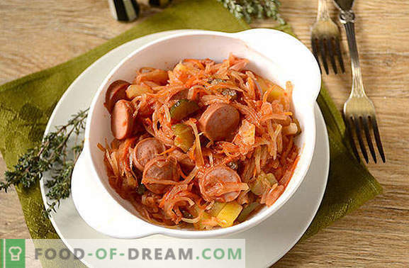 Solyanka of sauerkraut with nipples: a quick and wholesome quick meal. Author's step by step photo recipe of sauerkraut soups with sausages and pickles