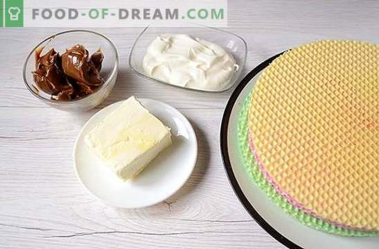 Waffle cake: a step-by-step photo recipe. Making a waffle cake from ready-made cakes with condensed milk - simple and very tasty!