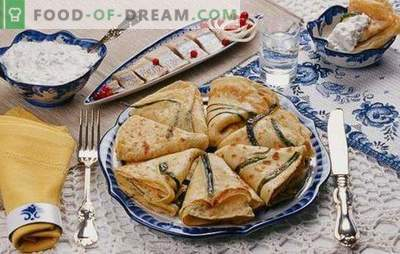 Pancakes with onions and eggs - you need to cook a lot! Recipes of different pancakes with green onions and egg, with sugar and with fillings