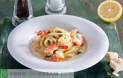 Spaghetti con gamberetti in salsa cremosa - un tripudio di gusto! Ricette di spaghetti con gamberetti in salsa di panna con formaggio, pomodorini, broccoli, vino