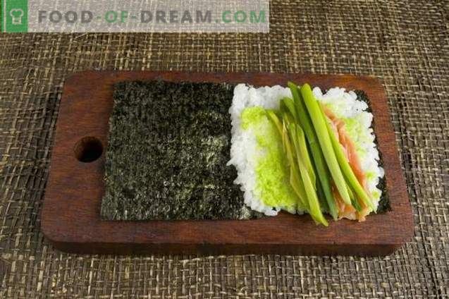 Temaki sushi with avocado and trout