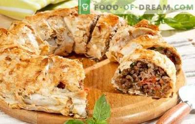 Meat pies from pita with minced meat - easy! Recipes pies of pita with minced meat and cheese, potatoes, mushrooms, tomatoes, zucchini