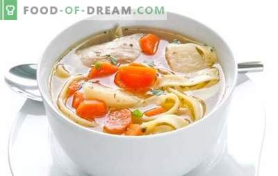 Chicken noodle soup - mother's soup. How to cook chicken soup with noodles, mushrooms, meatballs and vegetables
