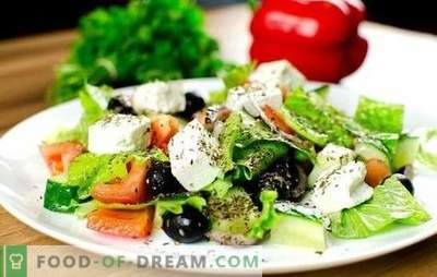 Greek Salad: classic, step-by-step recipes. Cooking delicious, healthy and fresh Greek salad according to classic recipes
