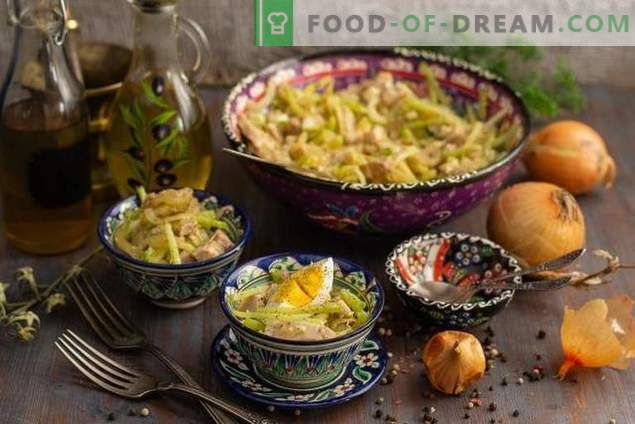 Spicy Uzbekistan Salad with Meat and Green Radish
