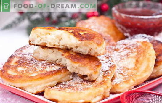 Fritters with apples on yogurt - so much so! Fritters with apples on yogurt: plain, yeast, oatmeal and cottage cheese