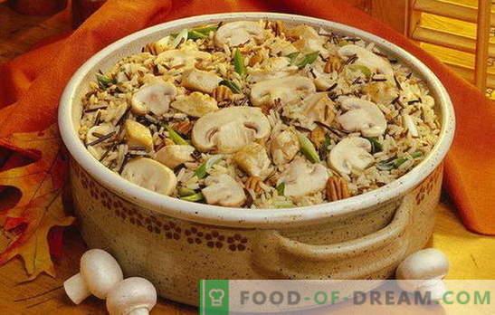 Pilau with mushrooms - a riot of aromas! Cooking crumbly pilaf with mushrooms: lean, with meat, chicken, buckwheat, raisins