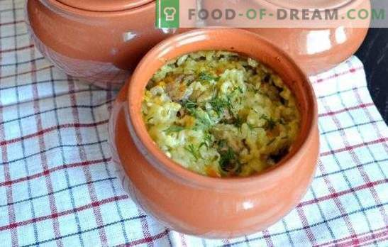 Potted pilaf in the oven is already a tradition. Recipes pilaf in pots in the oven with pork, chicken, beef, mushrooms, fish