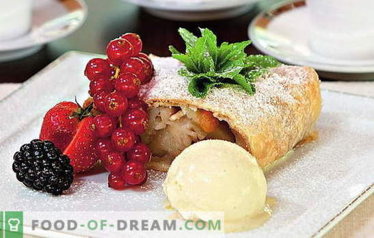 Strudel with apples from puff pastry - brilliant pastries! Stuff options and strudel recipes with puff apples