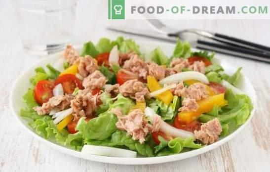 Tuna salad (step-by-step recipe) is an original fish appetizer. Tuna salad step by step: several cooking options
