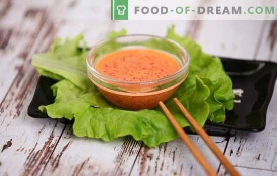 Spicy sauce - Japanese note on the menu! Recipes for hot spicy sauces with pepper, kimchi, capelin and flying fish caviar, mayonnaise, garlic