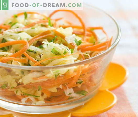 Fresh carrot and cabbage salads are the five best recipes. Cooking salads from fresh carrots and cabbage.
