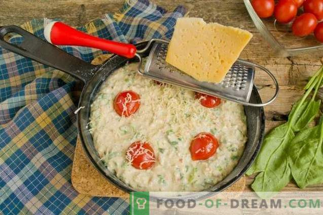 Omelet with curd and spinach