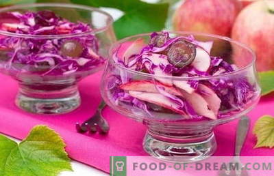 Salad of red cabbage - a selection of the best recipes. Cooking delicious salads with red cabbage.