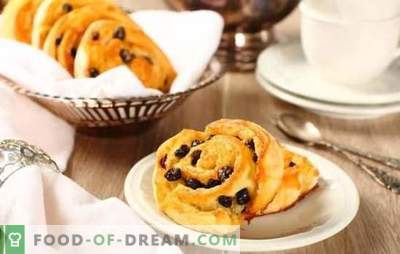Home technology: raisin buns made from yeast dough. Recipes for buns with raisins from yeast dough: sweet, puff, wicker, donuts